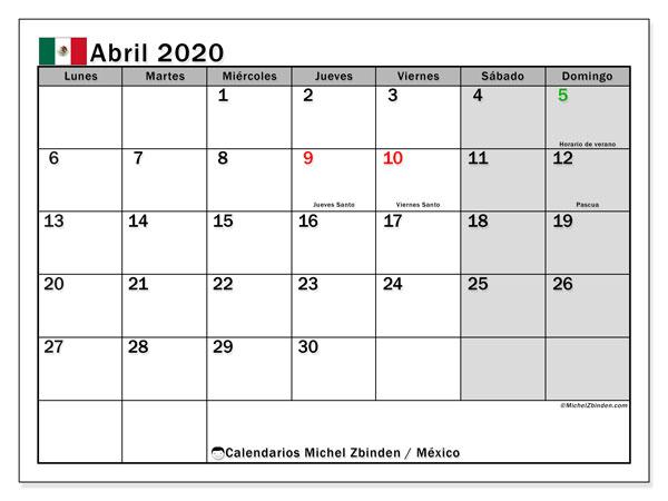 Calendario abril 2020, con días feriados de México. Calendario para imprimir gratis con días festivos.