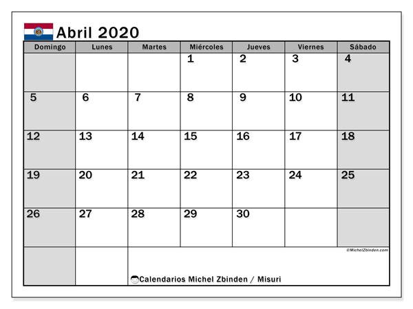 Calendario abril 2020, con días feriados en Misuri. Calendario vacaciones y festivos para imprimir gratis.