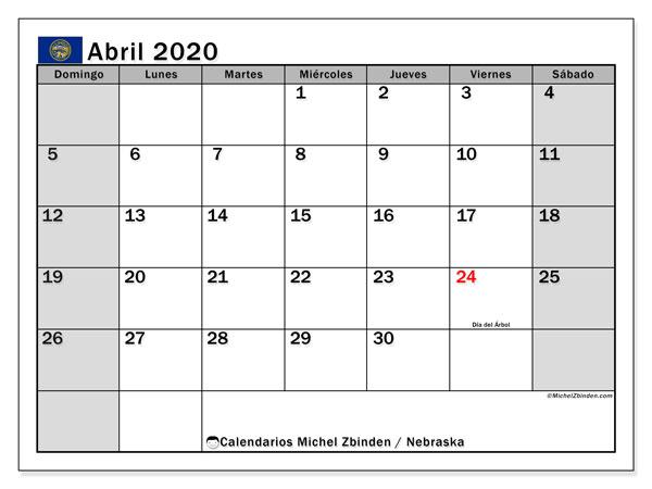Calendario abril 2020, con días feriados de Nebraska. Calendario vacaciones y festivos para imprimir gratis.