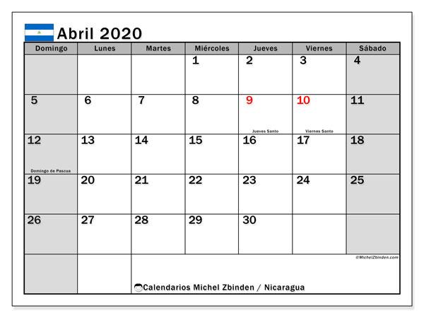 Calendario abril 2020, con días feriados en Nicaragua. Calendario vacaciones y festivos para imprimir gratis.