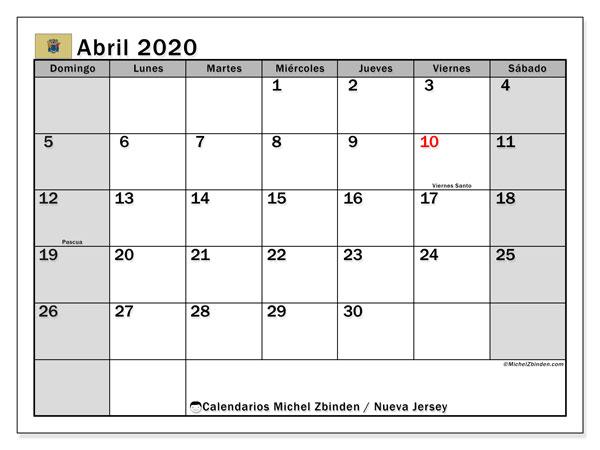 Calendario abril 2020, con días feriados en Nueva Jersey. Calendario vacaciones y festivos para imprimir gratis.