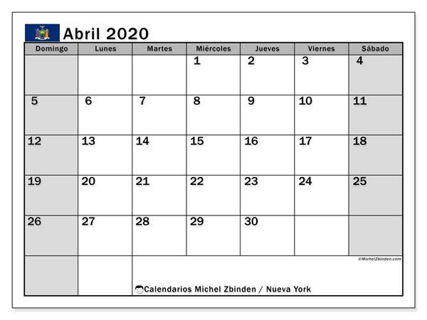 Calendario abril 2020, con días feriados en Nueva York. Calendario vacaciones y festivos para imprimir gratis.