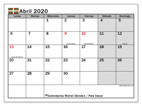 Calendario País Vasco con días festivos, abril  de 2020, calendario mensual y Array.
