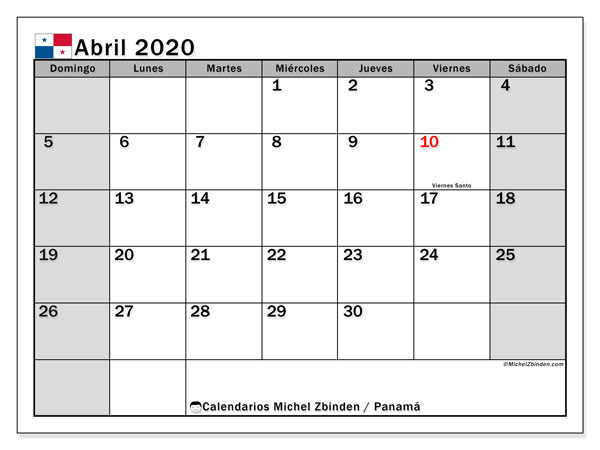 Calendario abril 2020, con días feriados de Panamá. Calendario para imprimir gratis con días festivos.