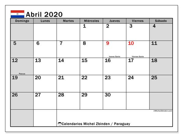 Calendario abril 2020, con días feriados en Paraguay. Calendario para imprimir gratis con días festivos.