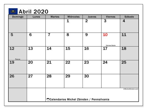 Calendario abril 2020, con días feriados en Pennsilvania. Calendario para imprimir gratis con días festivos.