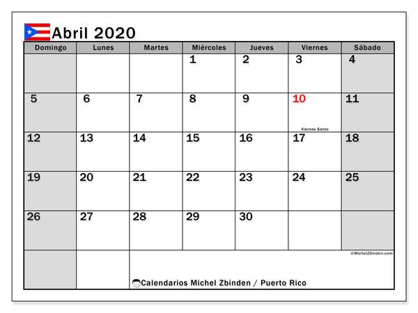 Calendario abril 2020, con días feriados de Puerto Rico. Calendario vacaciones y festivos para imprimir gratis.