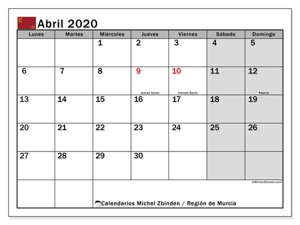 Calendario abril 2020, con días feriados en la Región de Murcia. Calendario para imprimir gratis con días festivos.
