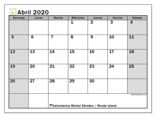 Calendario abril 2020, con días feriados de Rhode Island. Calendario vacaciones y festivos para imprimir gratis.