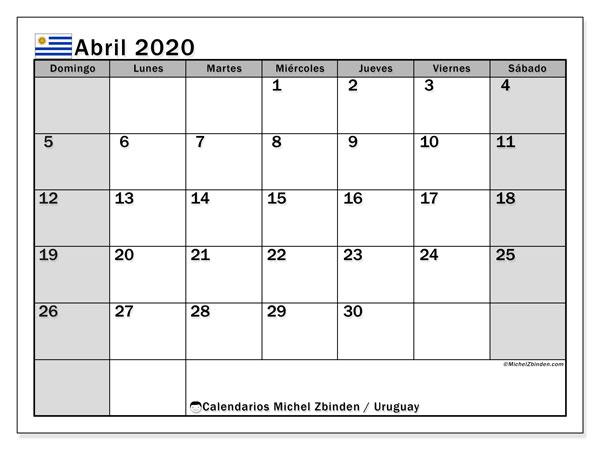 Calendario abril 2020, con días feriados de Uruguay. Calendario para imprimir gratis con días festivos.