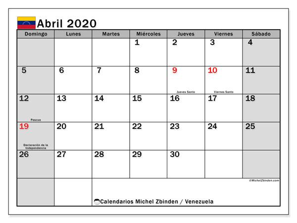 Calendario abril 2020, con días feriados en Venezuela. Calendario vacaciones y festivos para imprimir gratis.