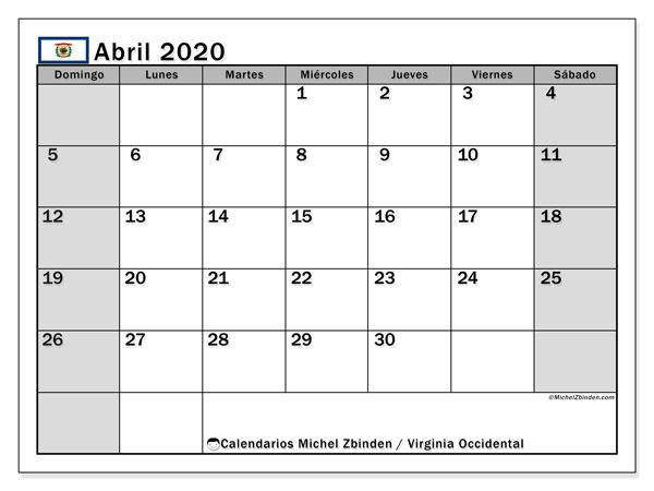 Calendario abril 2020, con días feriados de Virginia Occidental. Calendario para imprimir gratis con días festivos.