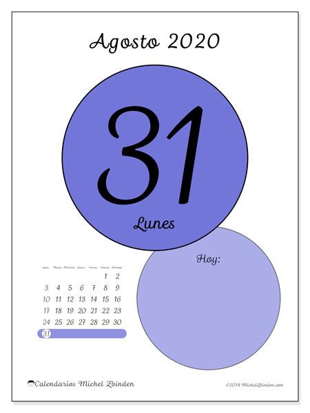 Calendario Diario 2020.Calendario Agosto 2020 45 31ld Michel Zbinden Es