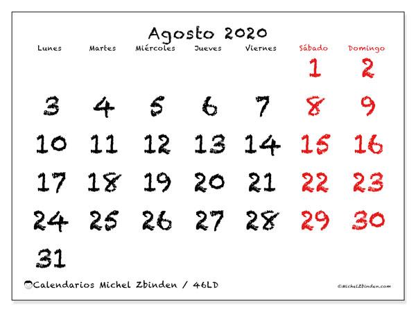 Calendario agosto 2020, 46LD. Calendario para imprimir gratis.