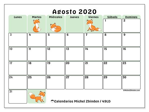 Calendario agosto 2020, 49LD. Almanaque para imprimir gratis.