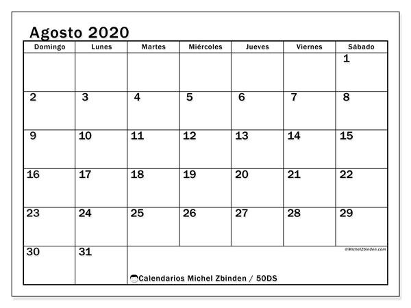 Calendario agosto 2020, 50DS. Calendario imprimible gratis.