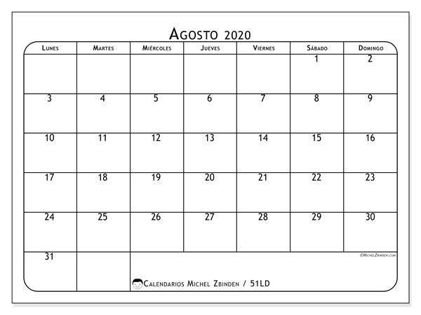 Calendario Agosto 2020 Argentina.Calendario Mensual Agosto 2020