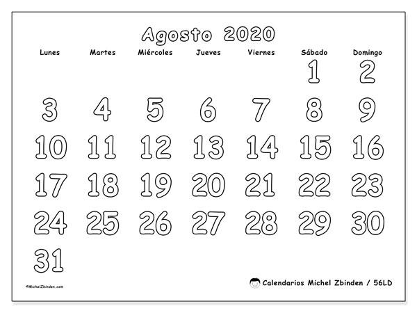 Calendario agosto 2020, 56LD. Calendario mensual para imprimir gratis.