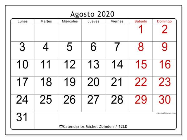 Calendario Agosto 2020 Argentina.Calendario Agosto 2020 62ld Michel Zbinden Es