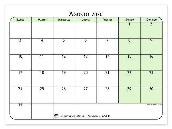 Calendario Agosto 2020.Calendario Agosto 2020 65ld Michel Zbinden Es