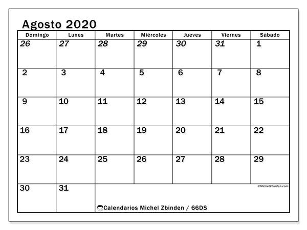 Calendario agosto 2020, 66DS. Calendario gratuito para imprimir.