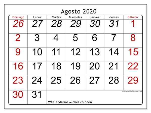 Agosto 2020 Calendario.Calendario Agosto 2020 72ds Michel Zbinden Es