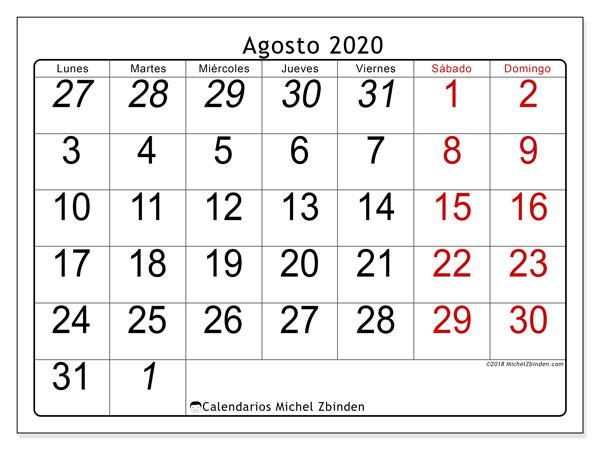 Calendario Agosto 2020 Para Imprimir Gratis.Calendario Agosto 2020 72ld Michel Zbinden Es
