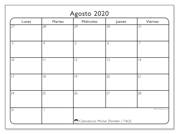 Calendario agosto 2020, 74LD. Calendario imprimible gratis.