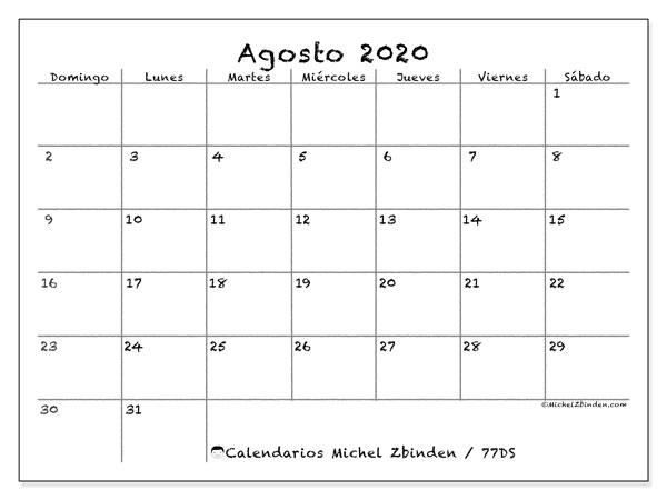 Calendario agosto 2020, 77DS. Calendario para imprimir gratis.