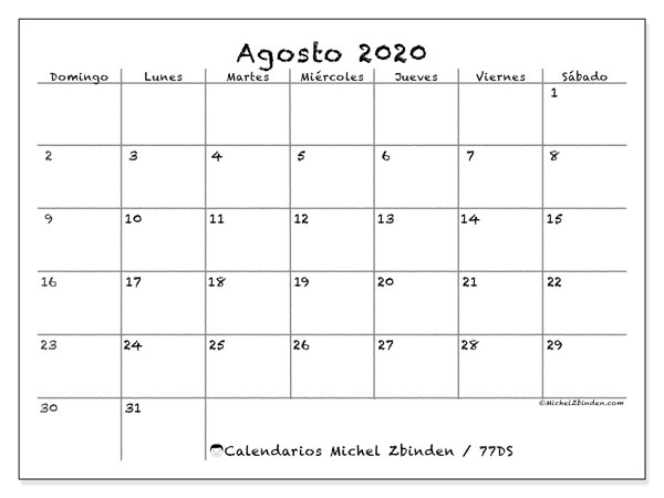 Calendario agosto 2020, 77DS. Calendario mensual para imprimir gratis.
