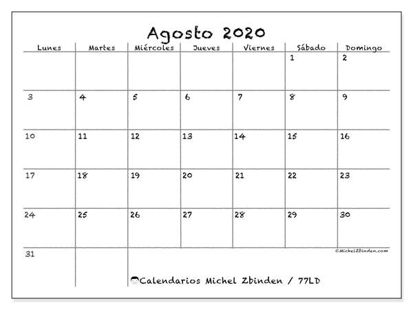 Calendario Agosto 2020 Argentina.Calendario Agosto 2020 Calendario 2020