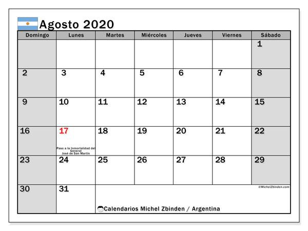 Calendario Agosto 2020 Argentina.Calendario Agosto 2020 Argentina Michel Zbinden Es