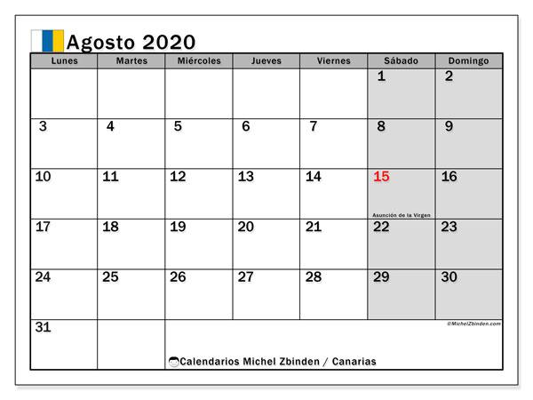 Calendario agosto 2020, con días feriados en las Islas Canarias. Calendario para imprimir gratis con días festivos.