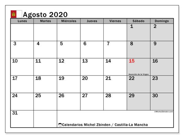 Calendario agosto 2020, con días feriados en Castilla-La Mancha. Calendario vacaciones y festivos para imprimir gratis.
