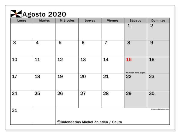 Calendario agosto 2020, con días feriados en Ceuta. Calendario vacaciones y festivos para imprimir gratis.