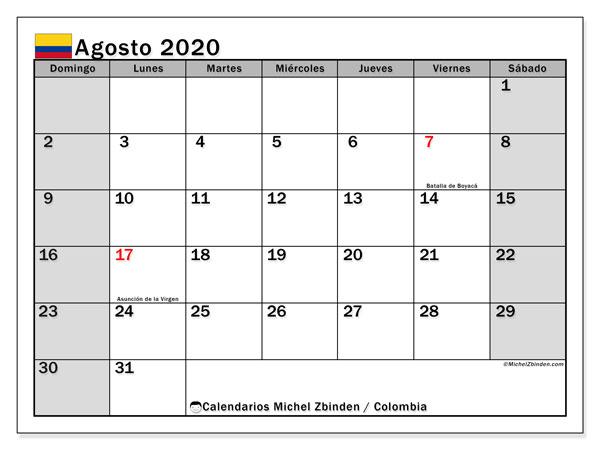 Calendario agosto 2020, con días feriados de Colombia. Calendario vacaciones y festivos para imprimir gratis.