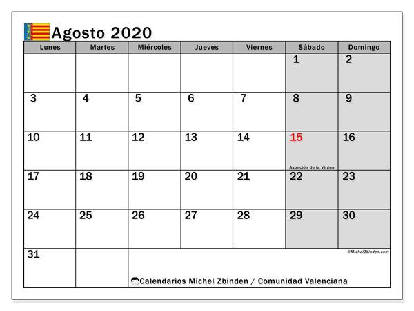 Calendario agosto 2020, con días feriados de la Comunidad Valenciana. Calendario vacaciones y festivos para imprimir gratis.