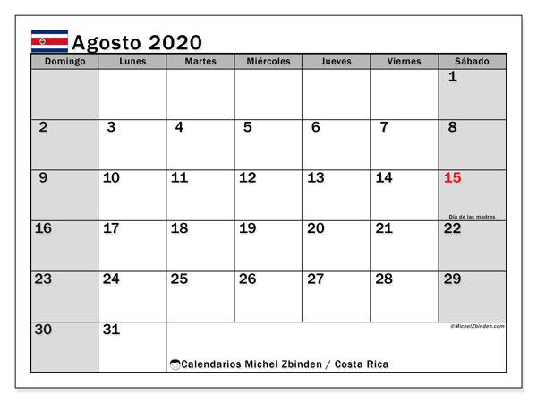Calendario agosto 2020, con días feriados de Costa Rica. Calendario vacaciones y festivos para imprimir gratis.