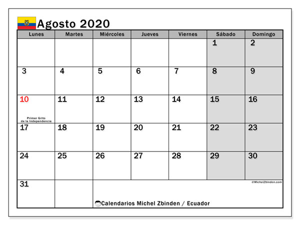 Calendario agosto 2020, con días feriados en Ecuador. Calendario vacaciones y festivos para imprimir gratis.