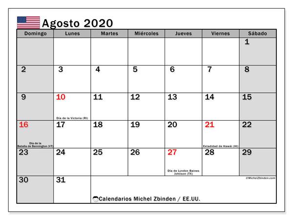 Calendario agosto 2020, con días feriados de EE.UU.. Calendario vacaciones y festivos para imprimir gratis.