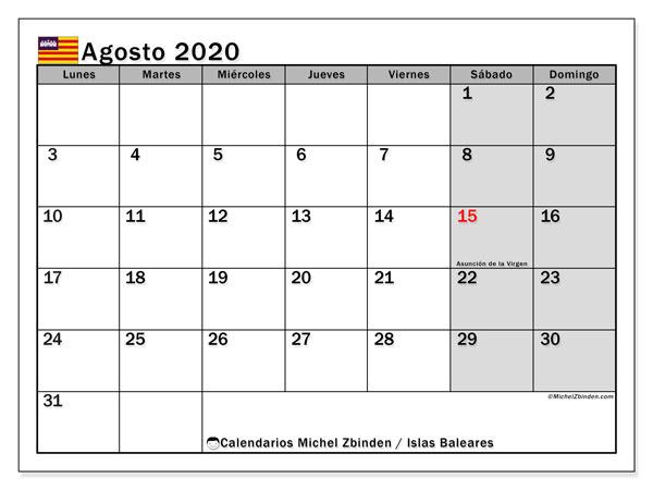 Calendario agosto 2020, con días feriados en las Islas Baleares. Calendario para imprimir gratis con días festivos.
