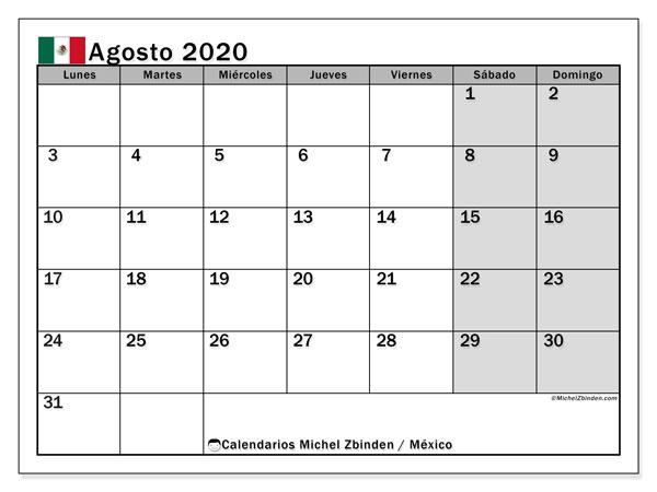 Calendario agosto 2020, con los días feriados en México. Calendario imprimible gratis.