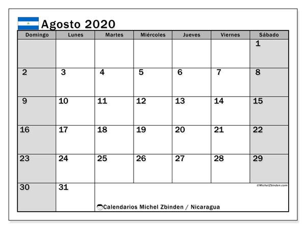 Calendario agosto 2020, con días feriados en Nicaragua. Calendario para imprimir gratis con días festivos.