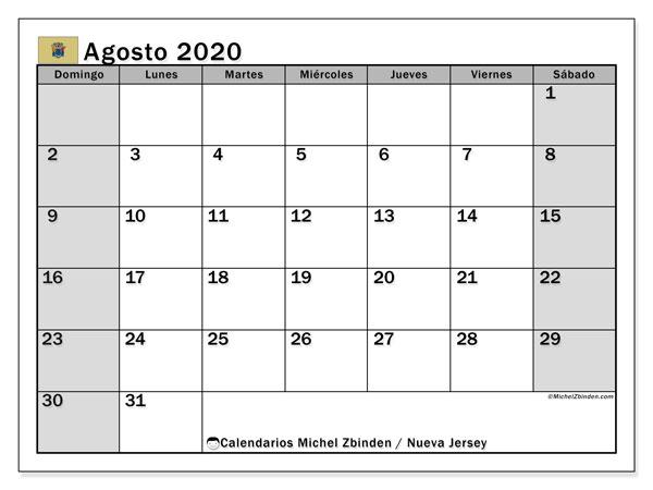 Calendario agosto 2020, con días feriados en Nueva Jersey. Calendario para imprimir gratis con días festivos.