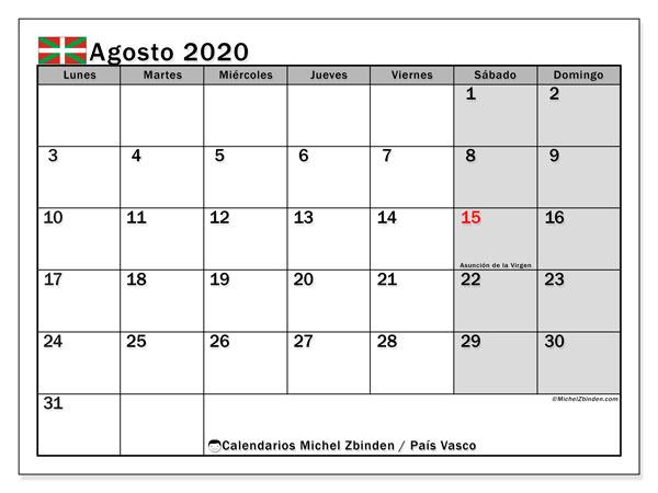 Calendario agosto 2020, con días feriados en el País Vasco. Calendario para imprimir gratis con días festivos.