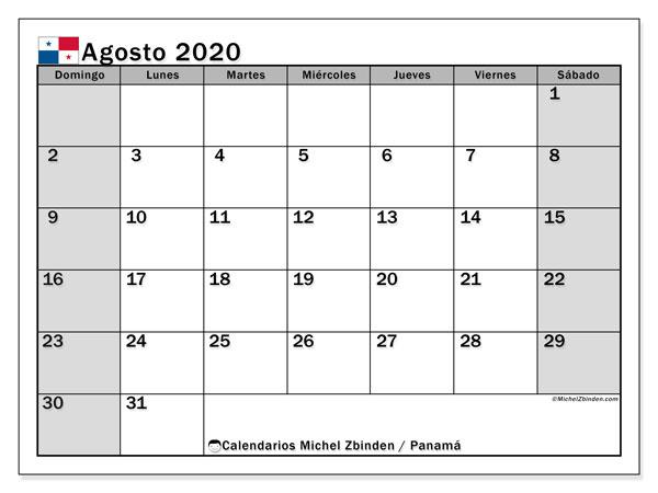 Calendario agosto 2020, con días feriados de Panamá. Calendario para imprimir gratis con días festivos.