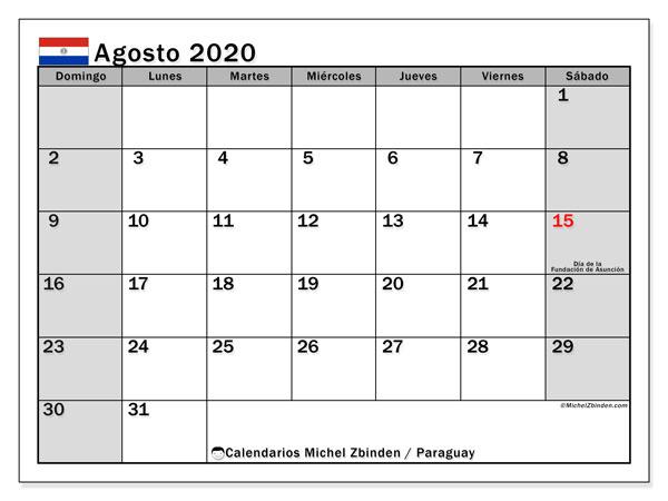 Calendario agosto 2020, con días feriados en Paraguay. Calendario para imprimir gratis con días festivos.