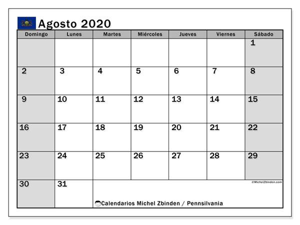 Calendario agosto 2020, con días feriados en Pennsilvania. Calendario para imprimir gratis con días festivos.