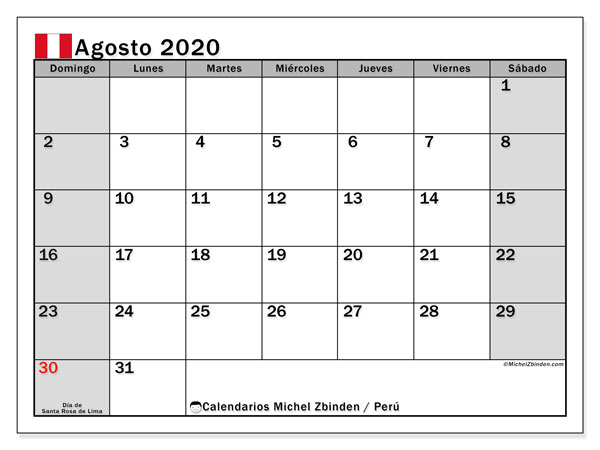 Calendario agosto 2020, con los días feriados para Perú. Calendario imprimible gratis.