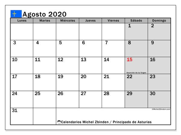 Calendario agosto 2020, con días feriados del Principado de Asturias. Calendario para imprimir gratis con días festivos.
